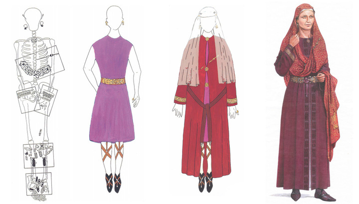 reconstruction of the garment belonging to Queen Arnegunda (+580 - 590). Basilica of St. Denis. Paris.