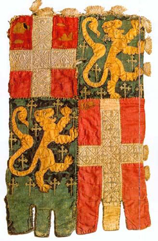Baner with arms of dukes of Savoy and family Blonays, castle well, Budapest. 14th century