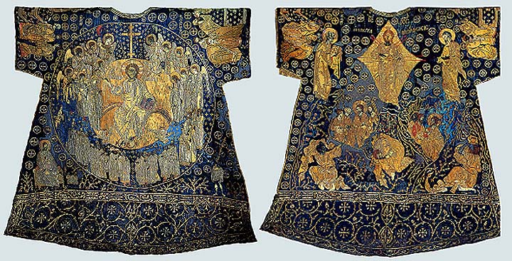 Vatican sakkos made in Byzance in 14th century. Formerly misinterpreted as a dalmatic of Charle Magne. Basilica of St. Peter, Rome