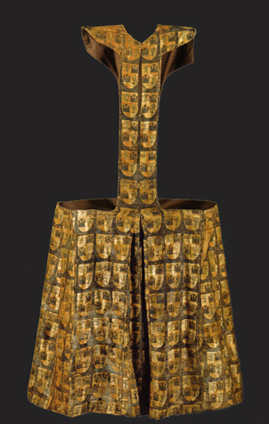 Pellote of Fernando de la Cerda (1252-1275) from gold brocade, decorated by generic coat of arm, Convent Las Huelgas near Burgos