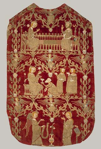 Chasuble English, 1330-1350. Silk and silver-gilt thread and colored silks. Metropolitan Museum of Arts, New York