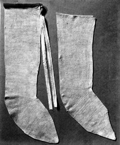 Stocking of st. Germanus - from 12th century are made of linen. Reconstruction in Abegg-Stiftung Foundation, Bern