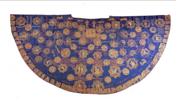 Mantle of Heinrich II. - so called Star mantle is located in Bamberg Cathedral Treasury (ca 1019)