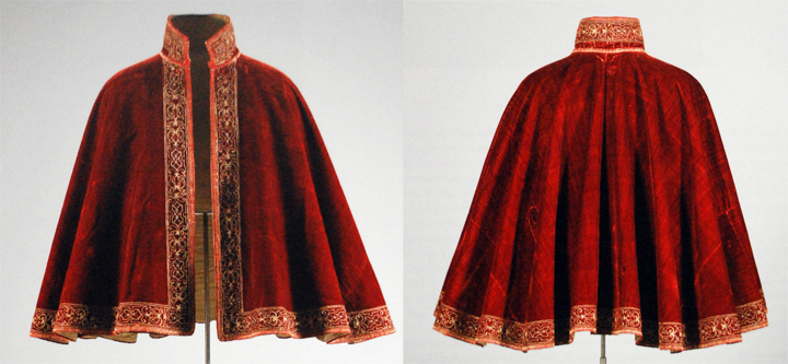 Velvet cloak from 1560 - 80 is in collection of Germanisches National Museum, Nurmberg.