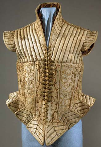 Jerkin Late 16th century or early 17th, Italy, Suede leather lined with taffeta and embroidered; padded, V+A Museum, London