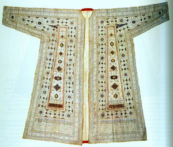 Talismanic shirt made from fine linen or cotton decorated by ornaments and verses from Koran, 2nd quarter of 16th century. Museum Topkapi (Istanbul)