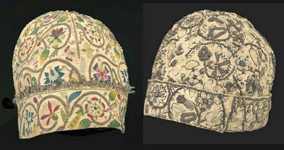 Embroidered Caps, man's night caps from 1580-95, Victoria and Albert Museum, London (?) and Museum of Fine Art, Boston