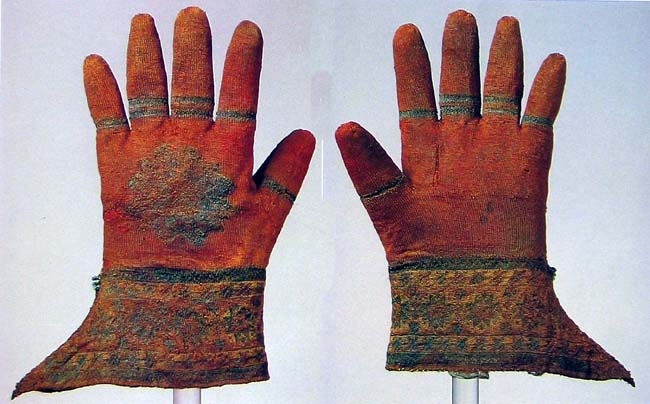 Devotional gloves from the grave of bishop Nicolaus Shimer (1510), Abbeg Foundation