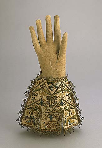 Glove of Lord Faifax made of embroidered leather was created ca 1625-1650. Los Angeles County Museum of Art