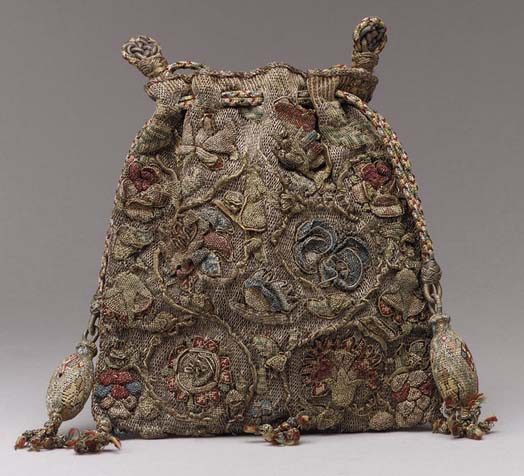 Purse from last quarter of 16th century (England). Colored silks with silver and gold thread on linen. Metropolitan Museum of Art, New York