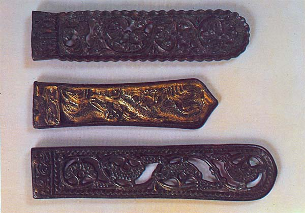 Avar strap-ends with floral, vegetal and animal ormaments. Bronze. Hungarian National Museum, Budapest