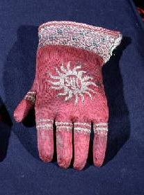 Gloves - pair of knitted silk gloves, possibly once belonging to Archbishop William Warham (c.1450-1532), New College, Oxford