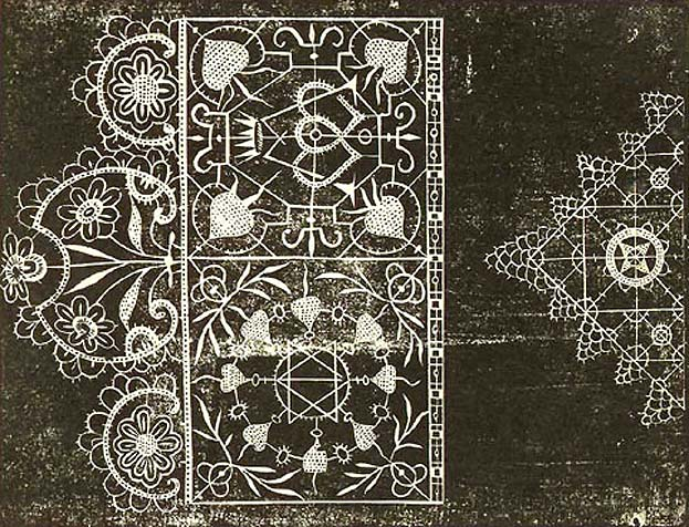 Lace lace motives from Book Du Debvoir des Filles by Jean Baptiste de Glen. (16th century)