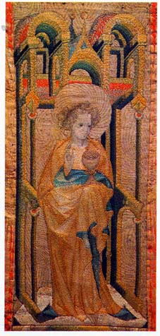 Embroidery detail of embroidery on devotional robe with depiction of St. John  (c. 1400), Hungary