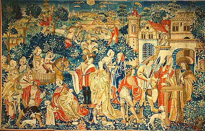 Visit of Gypsies Tournaise tapestry (1490-1510), Museum Clunny, Paris
