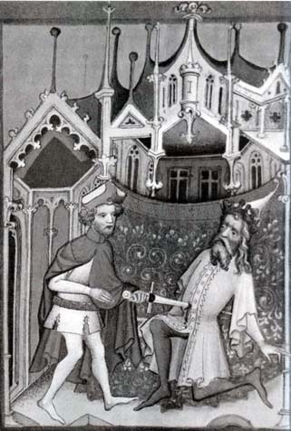 Sauls is killing Agag, illumination from the Konrad from Vechta Bible, (1402-03), Rukopisy Václava Iv, J. Krása, Odeon, 1971