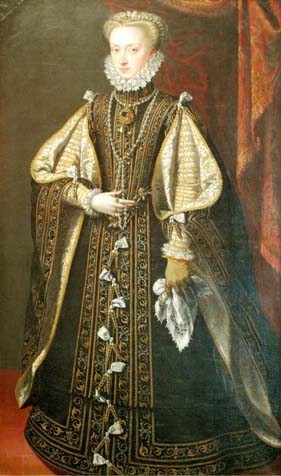 Anna of Austria. portrait of Spanish queen painted by Alonso Sanchez Coello in 1571. Kunsthistorische museum, Vienna